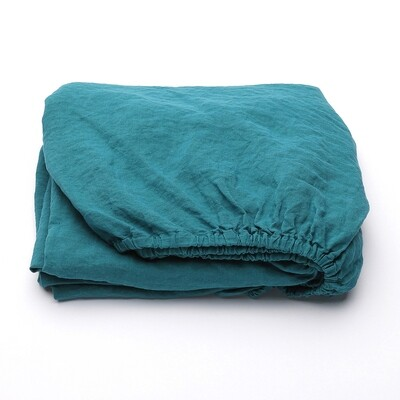 """FITTED SHEET, 100% LINEN, STONE WASHED, """"SAPHIRE"""""""