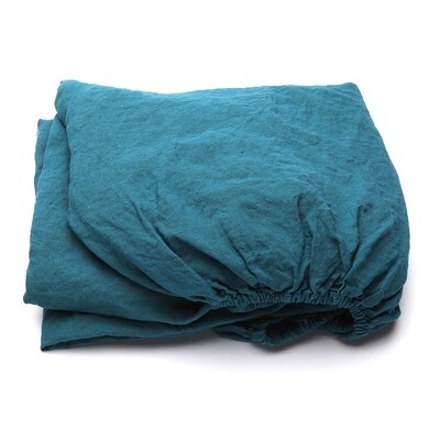 FITTED SHEET, 100% LINEN, STONE WASHED, MARINE BLUE