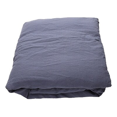 DUVET COVER, 100% LINEN, STONE WASHED, BLUEBERRY