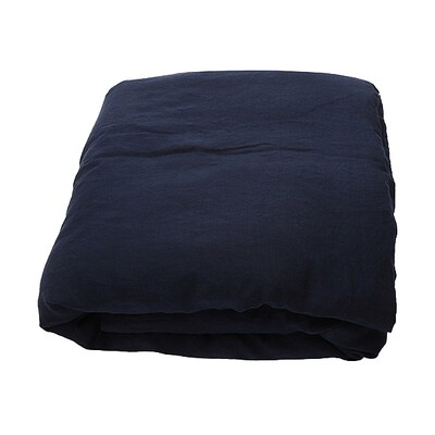 """DUVET COVER, 100% LINEN, STONE WASHED """"NAVY BLUE"""""""