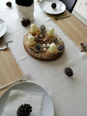 TABLE RUNNER, 100% LINEN - RUSTIC WHITE, 45x200 cm