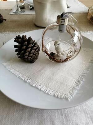 KITCHEN NAPKIN, 100% LINEN, WHITE 15x15 cm