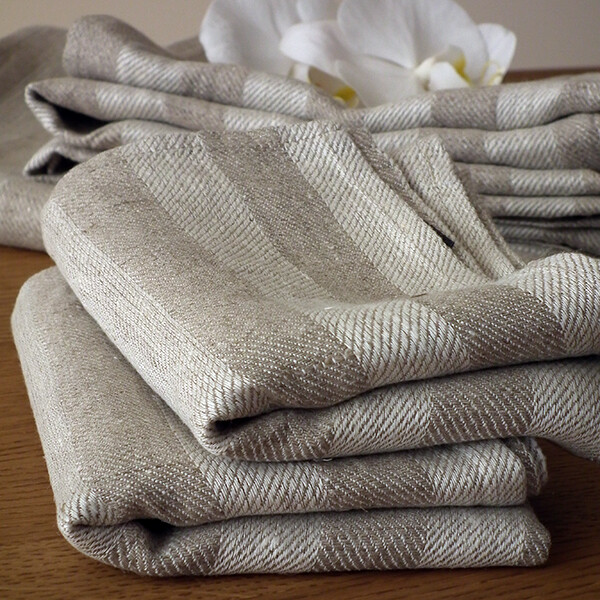 SET OF TWO GUEST TOWELS, 100% LINEN, LUCAS, NATURAL WITH STRIPES, 33x51 cm
