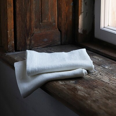 SET OF TWO GUEST TOWELS, 100% LINEN, LARA, OFF WHITE, 33x50 cm