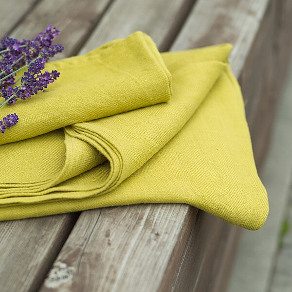 SET OF TWO GUEST TOWELS, 100% LINEN, LARA, CITRINE, 33x50 cm