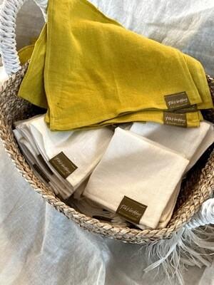 PACK OF 4 TOWELS, 100% LINEN, 25x25 cm