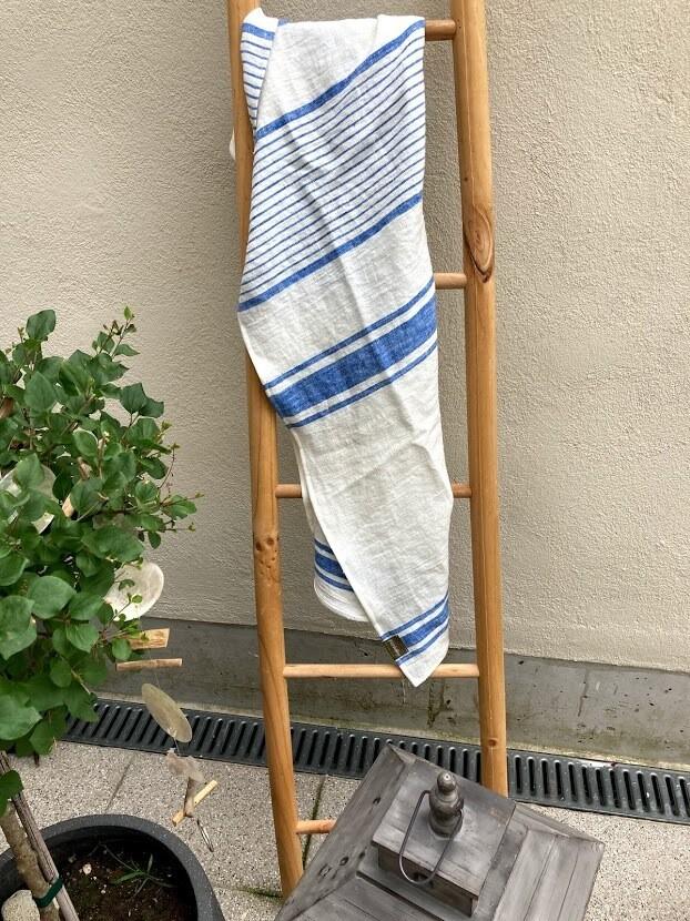FEK BEACH TOWEL, 100% LINEN, STRIPES - OFFWHITE/LIGHT BLUE, 70x140 cm