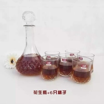 WHISKEY HOME DECANTERS WITH 6 GLASSES