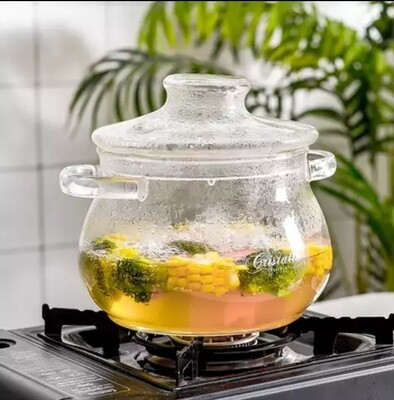 Handmade Transparent High Borosilicate Glass  Cooking pot