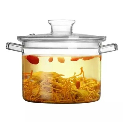 Big Size Transparent Clear Pyrex Glass Cooking Pot