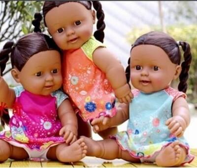Generic African Black Girls Dolls ,30cm Tall ,Talking, Moveable Joints(Orange Dress)
