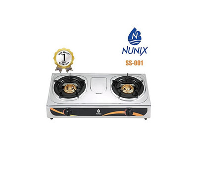 Nunix Gas Stove Stainless Steel Double Burners SS-001