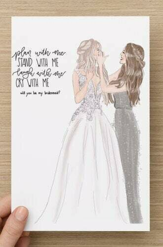 Custom will you be my bridesmaid maid of honor card