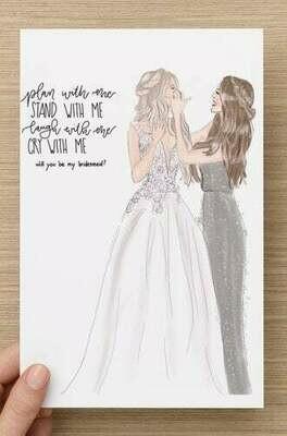 Custom will you be my bridesmaid maid of honor card