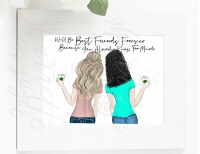 Custom best friend bff illustration