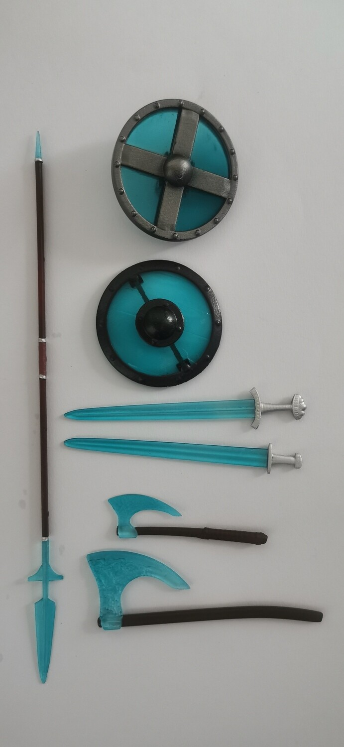 Viking vs Barbarian blue energy weapons pack