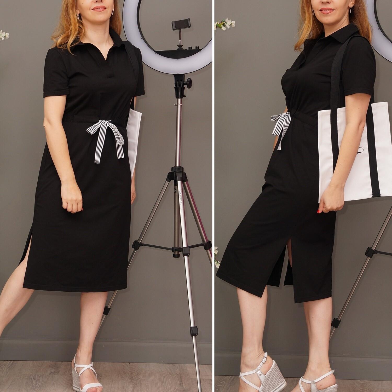 Платье-поло длинное с поясом