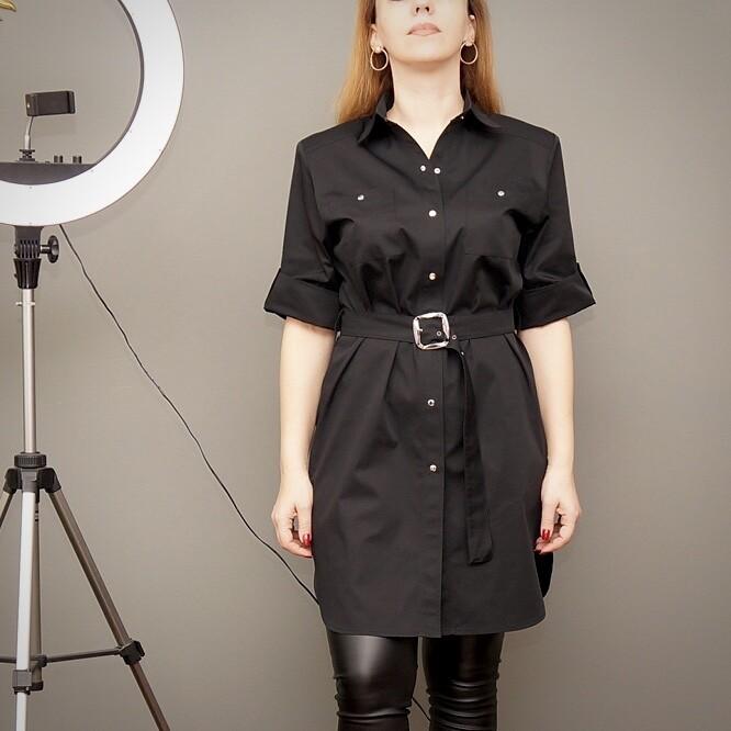 Платье-рубашка из вискозы, с поясом