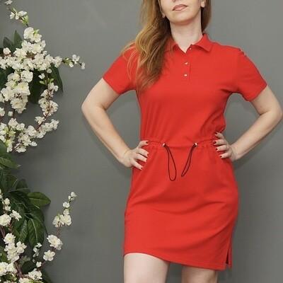Платье-поло красное с поясом-резинкой