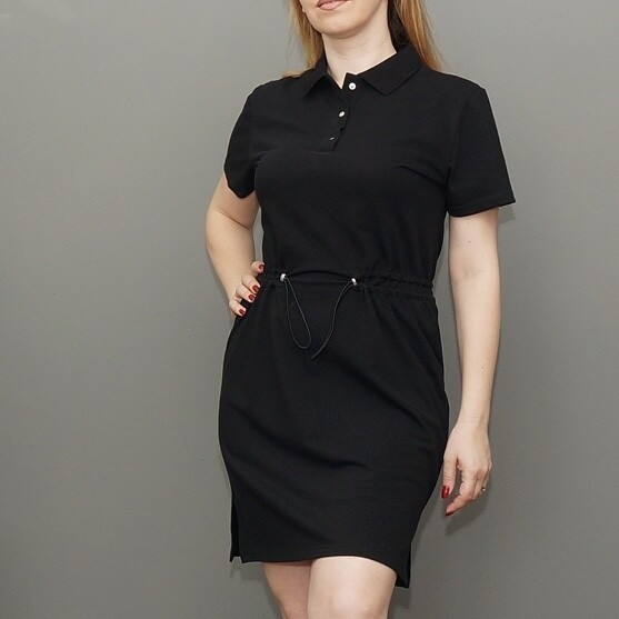 Платье-поло черное с поясом-резинкой