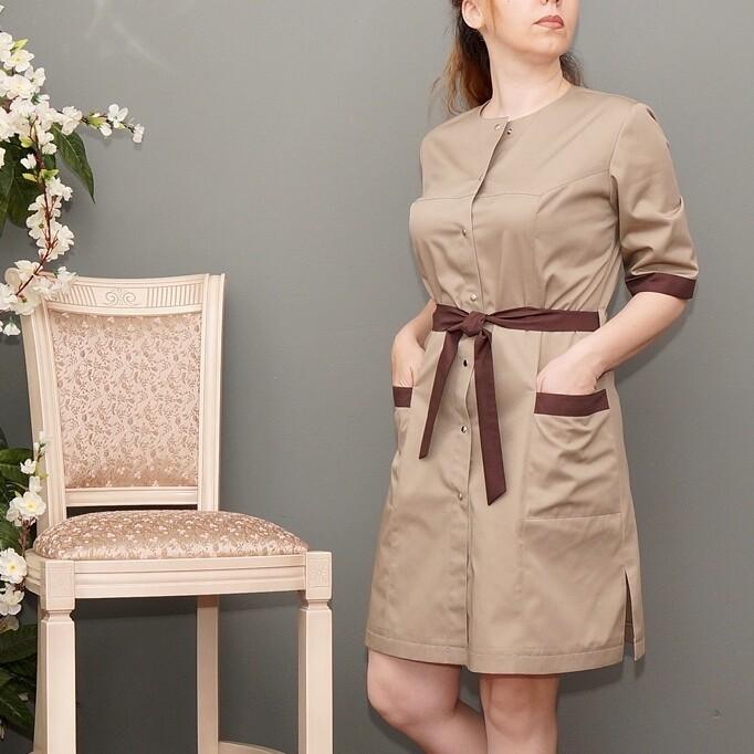 Платье-халат бежевый, с контрастной отделкой