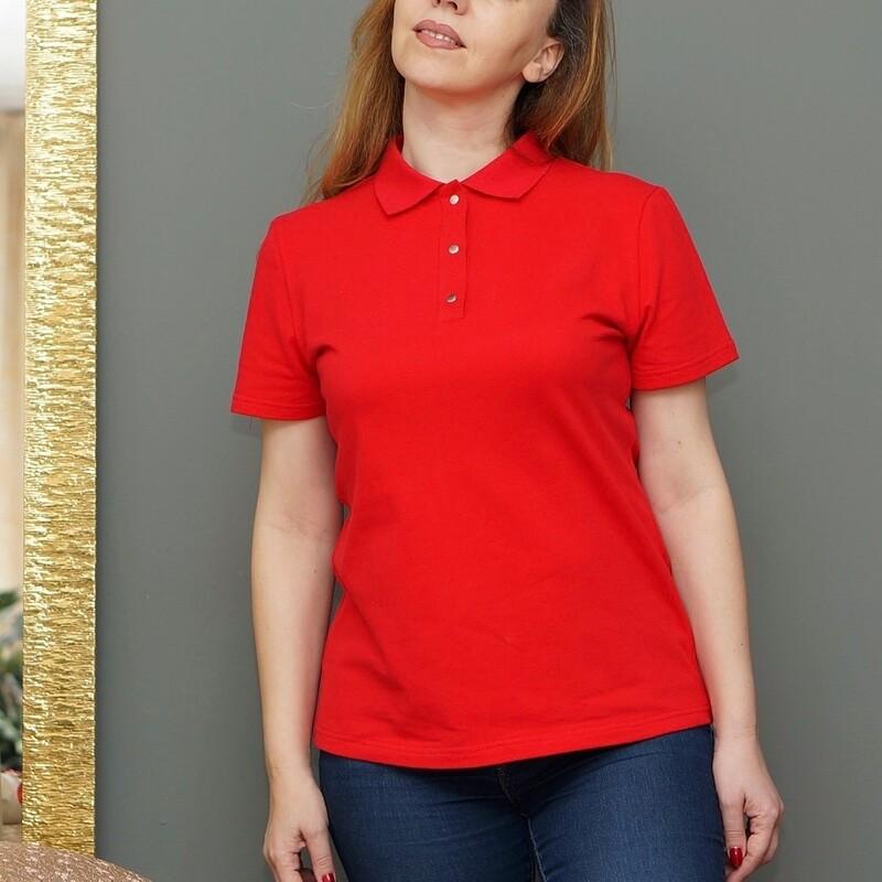 Поло женское красное