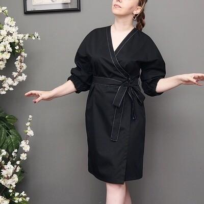 Платье-кимоно с поясом с вышивкой