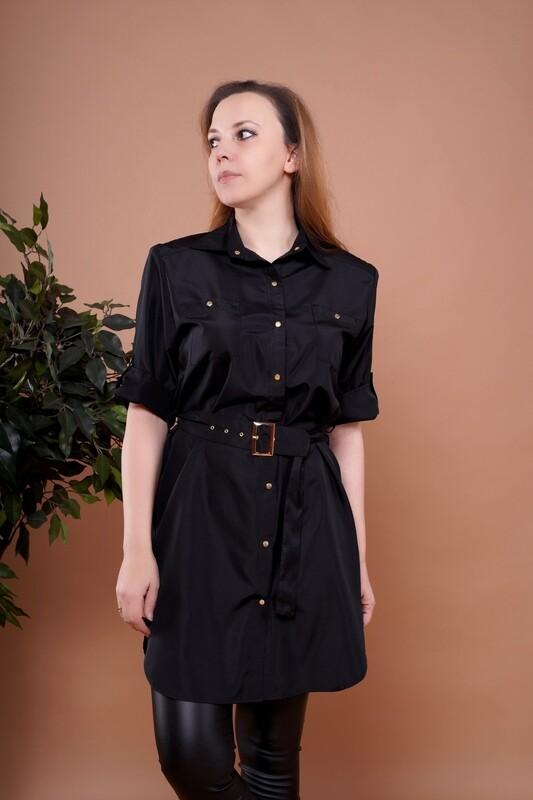 Платье-рубашка из ткани для парикмахера, с поясом