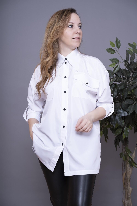Рубашка белая OVERSIZE из непромокаемой ткани