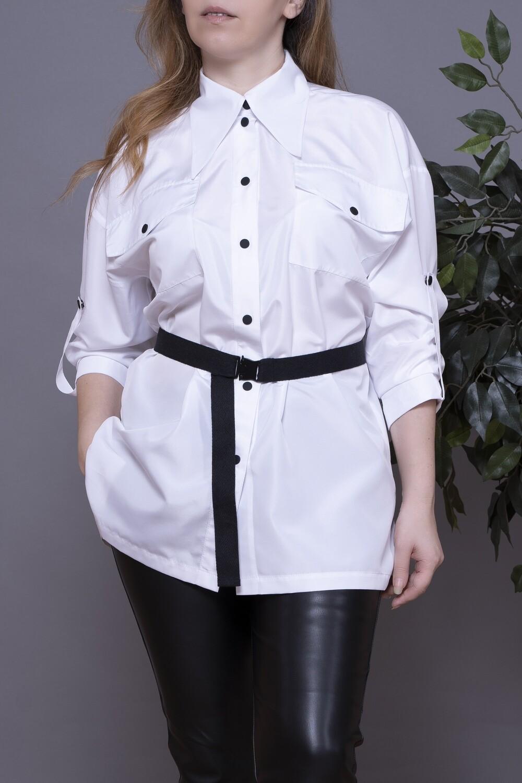 Рубашка OVERSIZE с поясом на металлической пряжке, из непромокаемой ткани