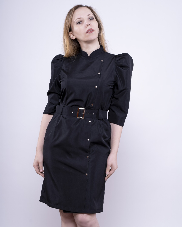 Платье с пышным рукавом из ткани для парикмахера