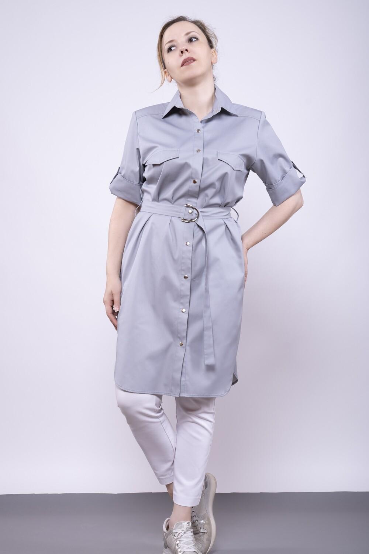 Платье-рубашка в сером цвете из хлопка