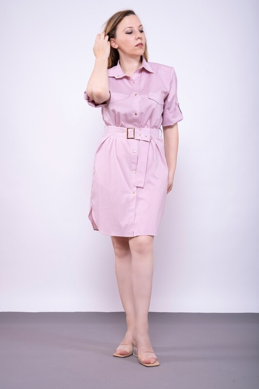 Платье-рубашка в цвете пыльная роза из поплина