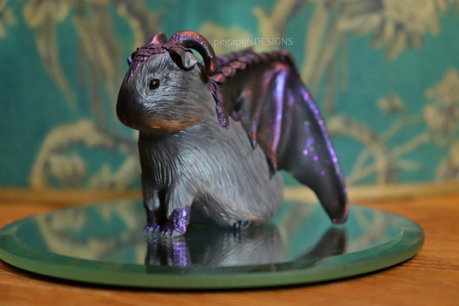 Female Dragapig Figurine Made With Fimo Dragon Guinea Pig