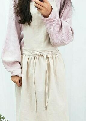 Dress Apron Neck Strap_ Ivory Cotton Linen Solid