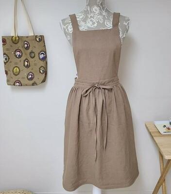 Dress Apron Shoulder Strap_ Brown Cotton Linen