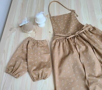 Neck strap Dress apron _cherry brown