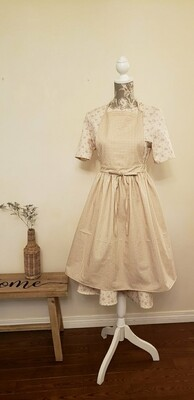 Neck strap Dress apron_ beige check