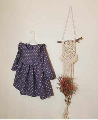 Vintage purple flower_ cotton 30s