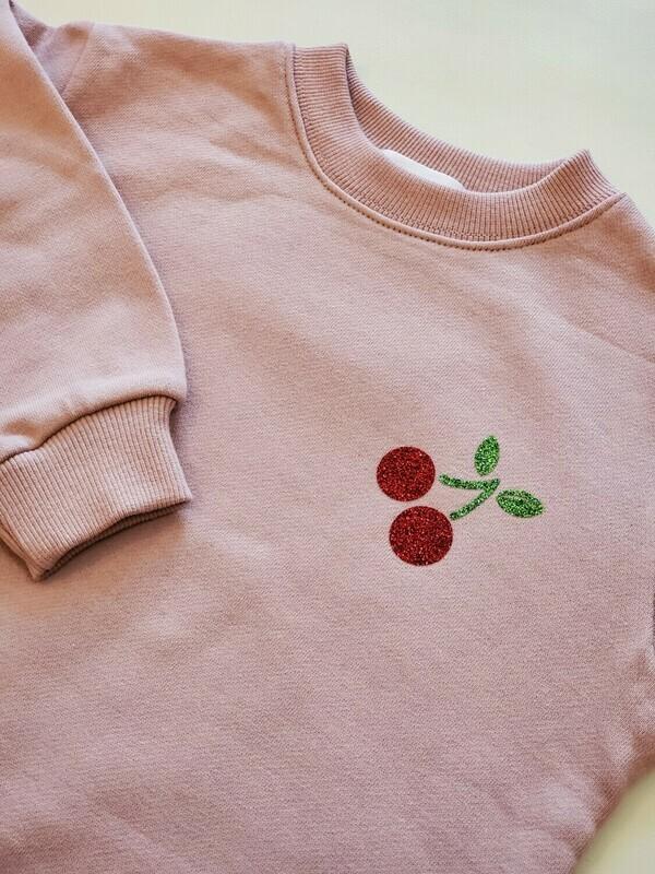 Glitter Cherry Print _ Mom Sweatshirt