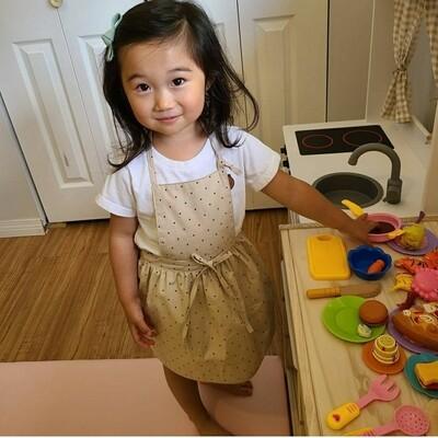 Kid Dress Apron _ beige/wine polka dot