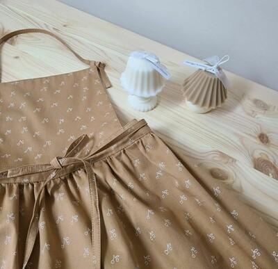 Kid Dress Apron _ camel/white cherry