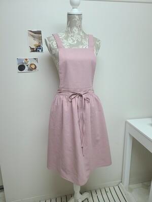 Dress Apron Shoulder Strap_ indie pink Cotton Linen