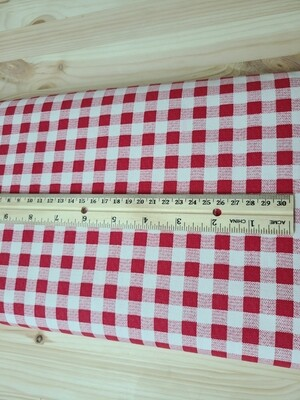 Red checkered Cotton 20s Twill