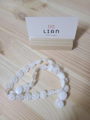 Kids handmade mask strap_ ivory lace