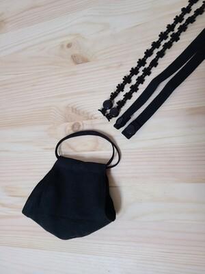 Handmade mask-black linen