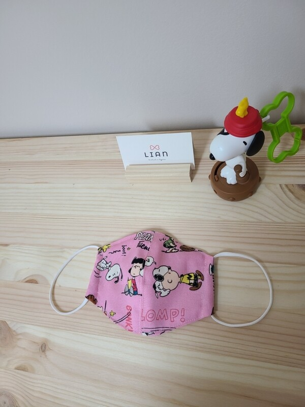 Snoopy Handmade Mask_ snoopy pink