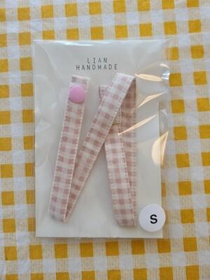 Kids handmade mask strap_ pink plaid