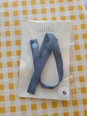 Kids handmade mask strap_ indie blue linen