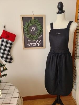 Dress Apron Shoulder Strap_ black Linen